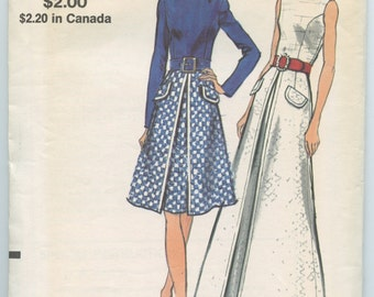 1970's Vogue 8265 Misses A Line Princess Seam Dress in Two Lengths Inverted Pleat Vintage Sewing Pattern Bust 36