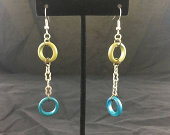 Olive and Teal Earrings