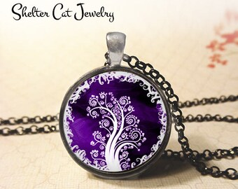 "Purple Curly Tree of Life Necklace - 1-1/4"" Round Pendant or Key Ring - Handmade Wearable Photo Art Jewelry - Spiritual New Age, Nature Gift"