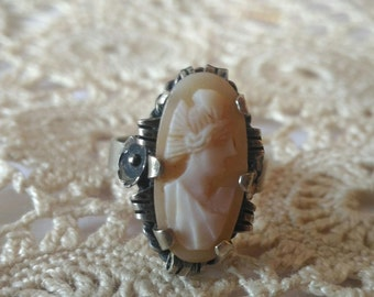 Old silver ring with natural Cameo