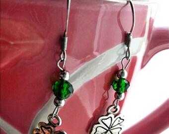 Shamrock earrings with green beads