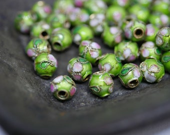 Chinese Cloisonne Beads 5.5mm Green Cloisonne Bead Enamel Beads Metal Beads (8 beads) CL09
