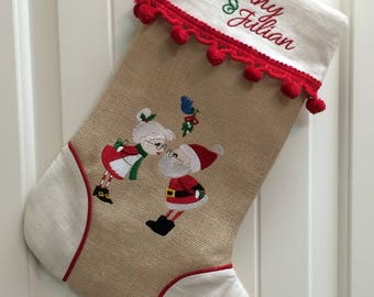 Personalized Christmas Stockings, Family Christmas Stockings, Embroidered Stockings, Pet Stockings, Handmade, Many Fabrics, Designs & Trims