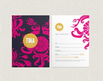 Tina double sided gift certificate design