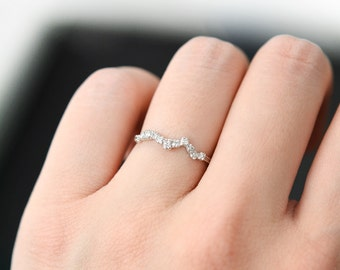 Constellation Diamond Ring, Diamond Wedding Ring, 14k Solid Gold Diamond Ring, Birthstone Ring, Dainty Diamond Ring, Prong Set Ring