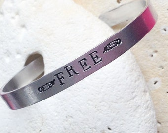 Free motto bracelet - adjustable -handstamped - vegan