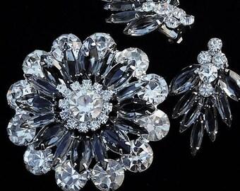 Rhinestone Brooch Earrings Set / Demi Parure