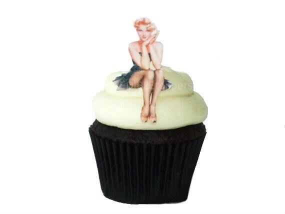 The Original Edible Pinup Girls 12 Cupcake Toppers Cake