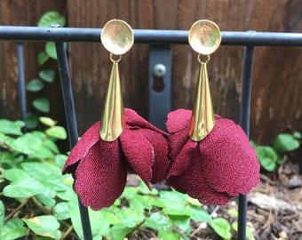 Maroon Petal Earrings