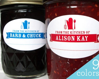Custom Colorful oval kitchen caning labels for mason jam jars & baked goods, customized From the Kitchen of stickers print with your name