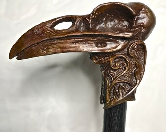 Raven Skull Cane, Limited Edition Bronze