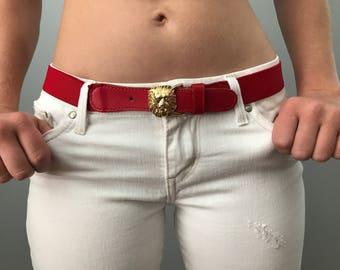 Vintage 80s Red Stretch Belt w/ Gold Lion Head