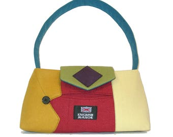 Little Liam #1018- Recycled Suit Coat Handbag - Wool Shoulder Bag - Small Multicolor Purse - Upcycled handbag - Rainbow Bag - Colorful Purse