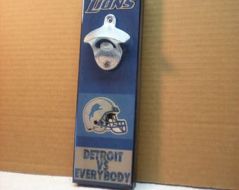 Cool Detroit Lions wall art Bottle Opener // Magnetic Cap Catcher // Wall Mounted - The Lions!