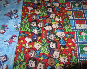 Three 12 x 40 Inch Peanuts Gang/Snoopy Christmas  Cotton Fabric Remnants