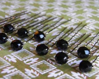 12 Jet Black 8mm Crystal Hair Pins