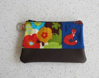 SALE!! Small Key Ring Wallet - Fox Wallet - Brown Vegan Leather Bag