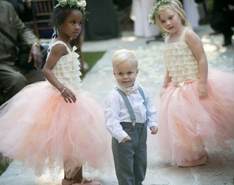 Blushing Peach - Tulle Flower Girl Skirt - Made to order - Blush pink, Peach, and Cream tulle blend - Weddings, photo prop, Long tulle skirt
