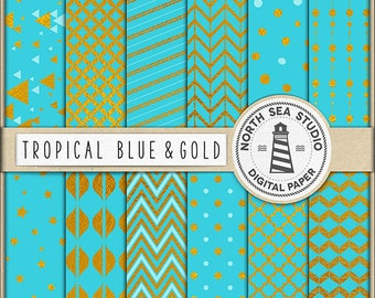 TROPICAL GOLD, Digital Paper Set, Blue And Gold Paper, Gold Foil Patterns, Golden Confetti,  Polkadot, Stars, BUY5FOR8