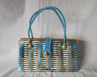 New Vintage Woven Plastic Purse With Seashell Accent Handles Top Handle Handbag Blue Gold Mother of Pearl