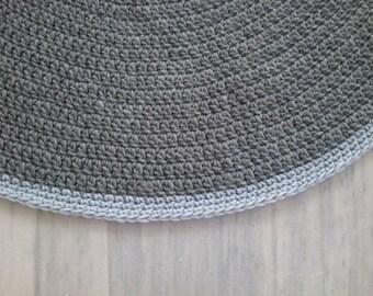 crochet rug  ,round rug, carpet, knitting rug, gray rug , handmade rug, 100%wool, 100cm