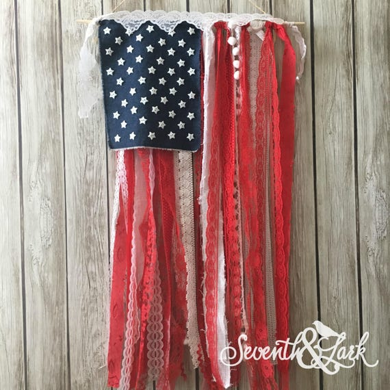 Diy craft kit flag banner shabby chic american flag like this item solutioingenieria Image collections