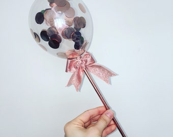 Rose gold confetti mini balloon cake topper with ribbon favour party wedding baby shower birthday