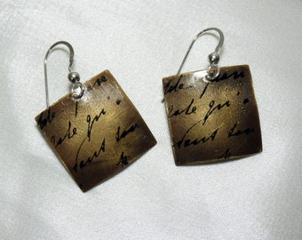 Square Antiqued Brass Earrings with French Ink Stamp