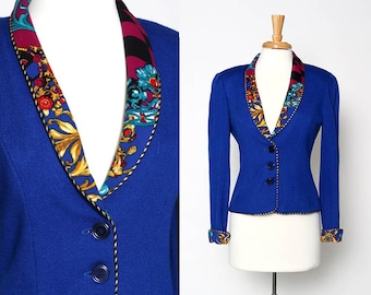 CLOSING SALE Vintage 80s 90s Royal Blue Jacket Blazer Patterned collar cuffs