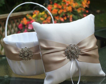 White or Ivory Flower Girl Basket and Ring Bearer Pillow- Taupe Sash/Large Rhinestone Embellishment More Ribbon Colors Available-Age 8+