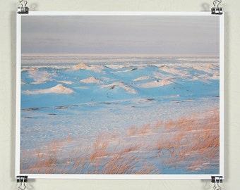 Lake Michigan ice brushed by the sunset - 8x10 inch print