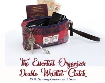 The Essential Organiser Wallet. Wristlet Cell Phone Pouch. Double zip pouch. PDF Sewing Pattern. Organizer clutch purse