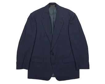 Blue Wool Overcoat from Crombie - Scottish Soft Wool Blazer Sport Coat-Preppy Trad Ivy Style Heritage - Men's Size 44 46 Extra La dB333R3J