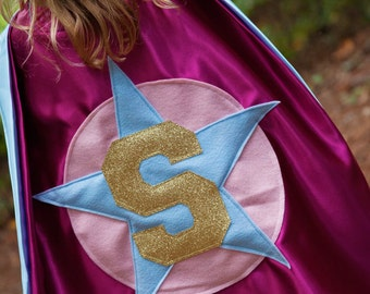FREE Mask - Princess Cape - Pink Light Blue Cape - Gold Superhero - Two year old Girl Cape - Girls Capes  - Girls Halloween Costume