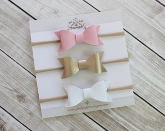 Leather Bow Headbands, Pink, Gold, White, Nylon Headbands, Baby Girl Headbands, Infant Headbands, Baby Bows