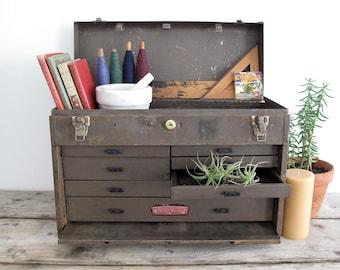 Vintage Tool Box / Metal Tool Box - Machinist Box - Vintage Lock Box - Industrial Storage