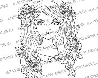 Digital Stamp Butterfly Flower Girl Face, Digi Download, Coloring Page Book, Summer Retro 60s, Clip art, Scrapbooking Supplies