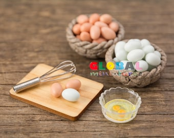 Dollhouse Miniatures Set of Eggs and Kitchen Equipments - 1:12 Scale