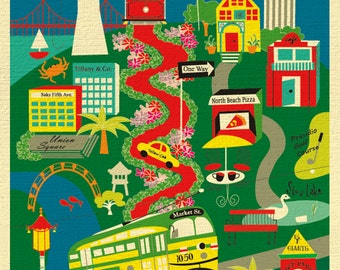 San Francisco Map Art, San Francisco Print, SF Poster, San Francisco Wall Art, San Francisco Vertical Art, SF Collage Art - style E8-O-SF4