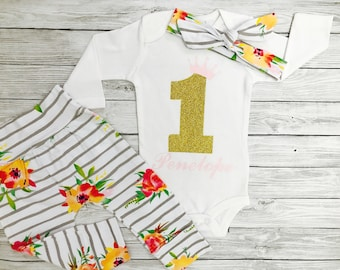 Personalized First Birthday Outfit Girl One Year Old Girl Birthday Outfit First Birthday Girl Baby Girl First Birthday