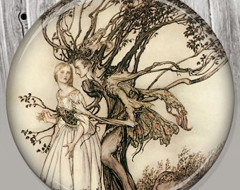 Brothers Grimm Pocket Mirror, Photo Mirror, Compact Mirror Storybook Illustration A134