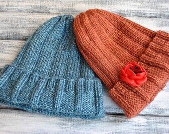 Hand Knitted Hat. Beanie Hat. Autumn Hat. Soft yarn. Ready to ship.