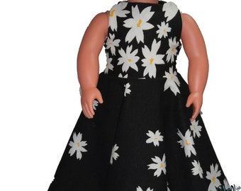 """Floor Length 18"""" Doll Clothes White Daisy flowers on  Black Dress w/ Invisible Back Zipper"""
