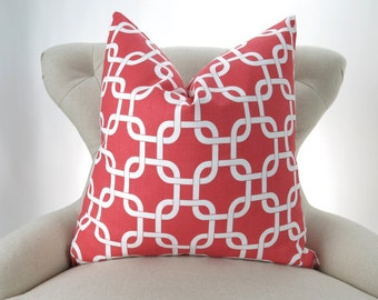 Coral Throw Pillow Cover, Chain Link Pattern, Accent Pillow, Euro Sham, Decorative Cushion -MANY SIZES- Gotcha Coral White by Premier Prints