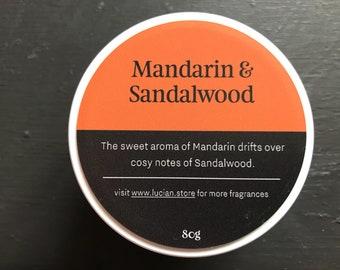 Mandarin & Sandalwood- Travel tin candle 4oz
