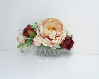 Blush burgundy peony flower comb, Wedding flower comb,Bridal flower comb,Bridal hair accessories,Floral headpiece,Bridesmaid flower comb,