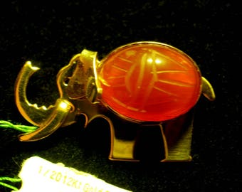 WRE Scarab ELEPHANT Pin Brooch Original Tag and Bag
