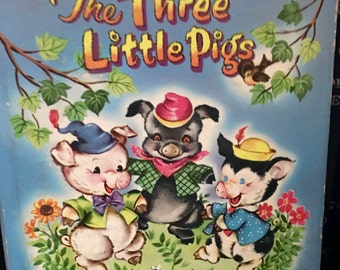 The Three Little Pigs, Big Bad Wolf, Traditional Classic Tale, Retro Fifties, Whitman Publishing Tell-A-Tale, 1953