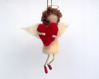 Angel red heart Valentines day gift Gift for Her Gift for Him Valentines Day Valentine Gift decor Love angel Wool Cute love figurine