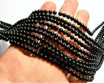 Black Onyx - matte -  4 mm round beads -1 full strand - 96 beads - AA quality - RFG1107